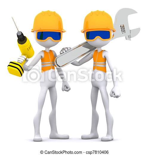 ouvrier, construction, groupe, equipment. - csp7810406