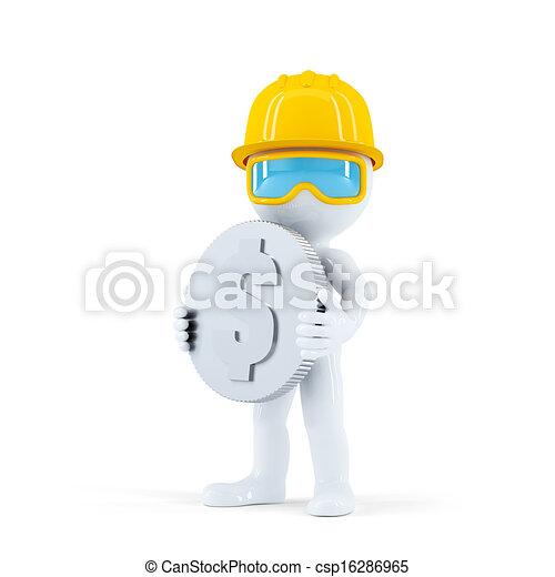 ouvrier construction, monnaie - csp16286965