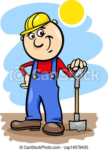 ouvrier, dessin animé, illustration, bêche - csp14579435