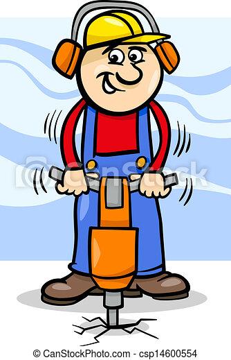 ouvrier, marteau pneumatique, dessin animé - csp14600554