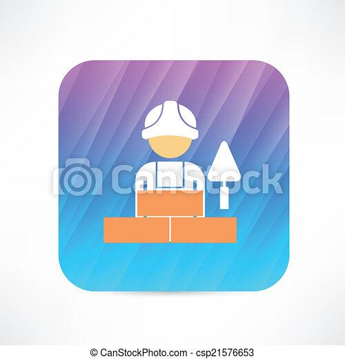 ouvrier, truelle, icône - csp21576653