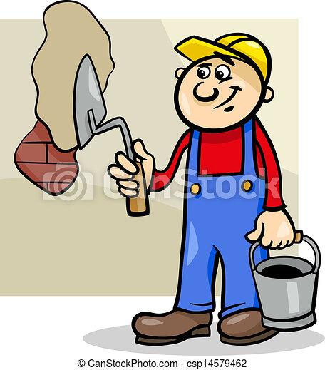 ouvrier, truelle, illustration, dessin animé - csp14579462