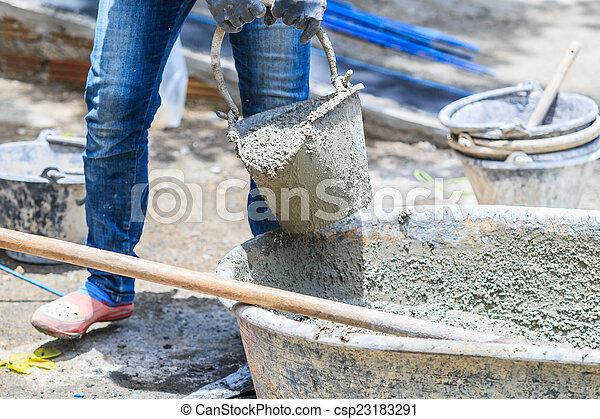 ouvriers, construction, ciment - csp23183291