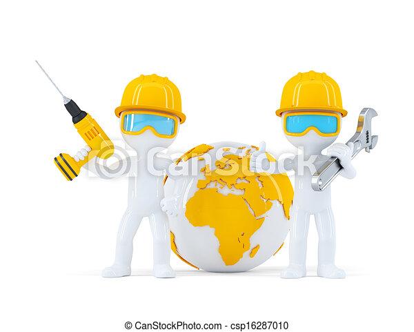 ouvriers, construction, globe - csp16287010