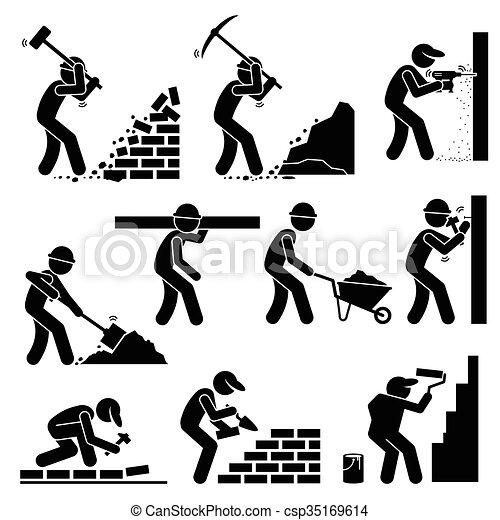 ouvriers, constructors, constructeurs - csp35169614