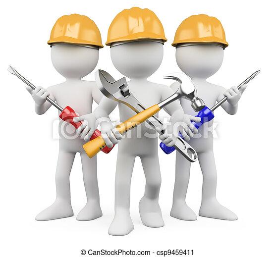 ouvriers, travail, -, 3d, équipe - csp9459411