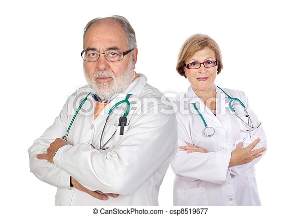 ouwetjes, paar, artsen - csp8519677