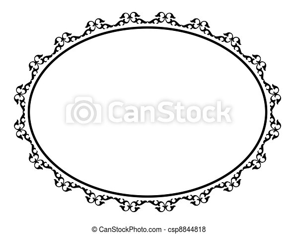 ovális, díszítő, dekoratív, keret - csp8844818