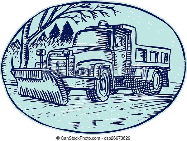 oval, arado, caminhão, neve, cauterizando - csp26673829