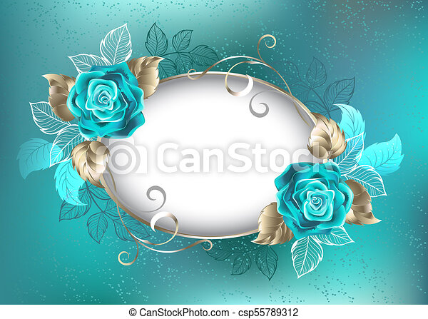 oval banner with turquoise roses oval light banner