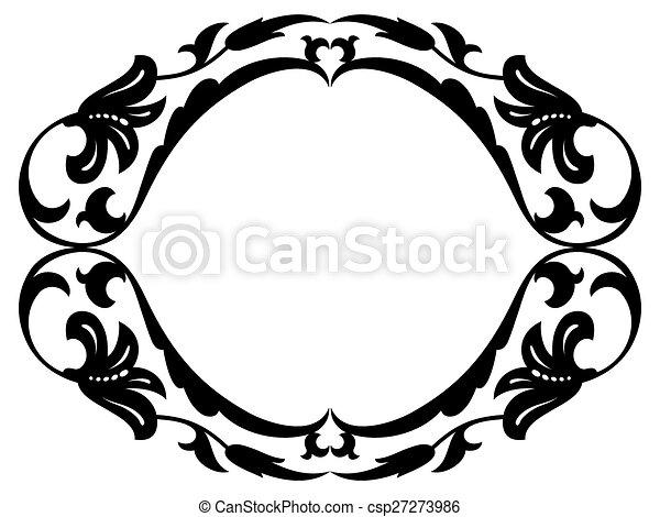 oval baroque ornamental decorative frame - csp27273986
