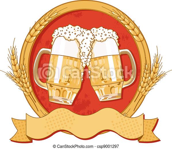 Oval beer label design - csp9001297