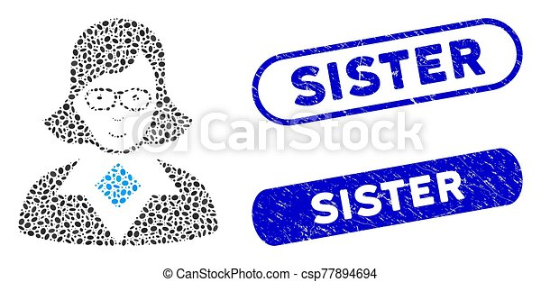 Oval Collage Teacher Lady with Grunge Sister Stamps - csp77894694