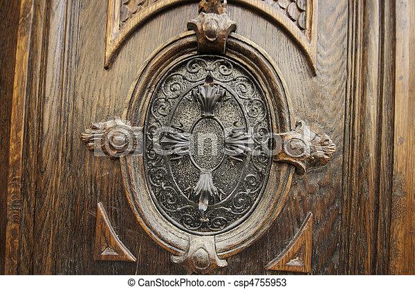 Oval Door Design Wooden Door With A Metal Work In A Oval