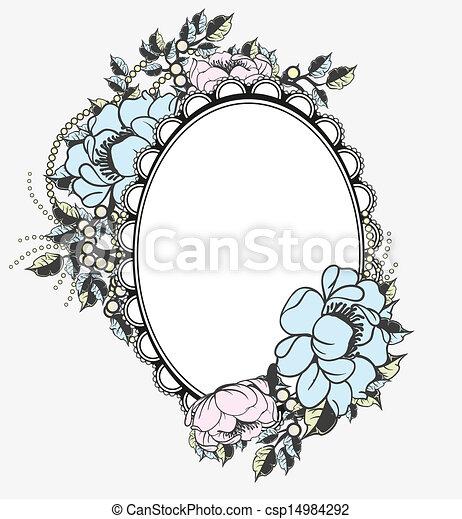 Oval, floral, marco, plantilla.