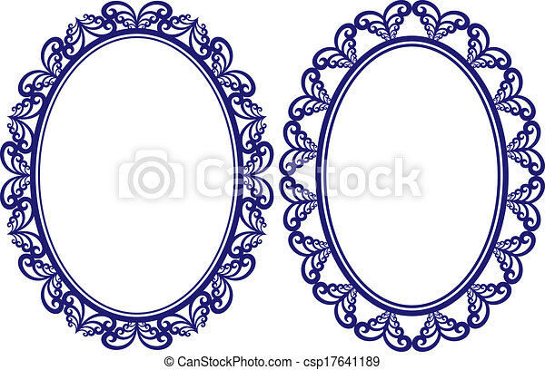 Set of two vintage oval frames with decorative border.
