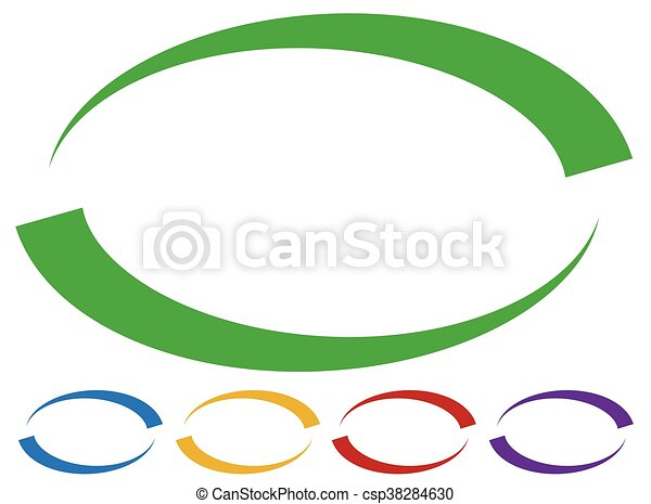 oval frames borders in five colors colorful design elements