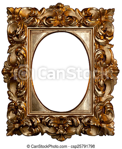 Oval gilded frame. Beautiful rounded gilded frame .
