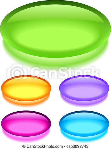 Oval glass buttons - csp8892743