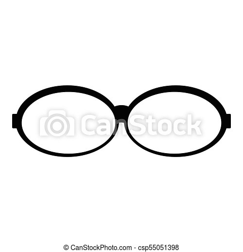 Oval glasses icon, simple style. - csp55051398