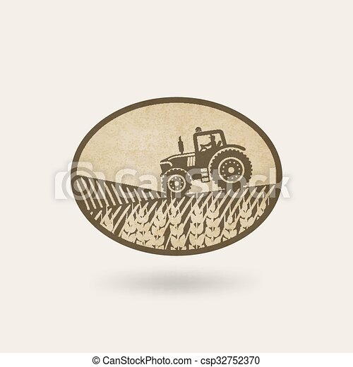 oval label with the landscape. tractor in field - csp32752370