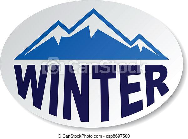 El vector de la montaña invernal ovalada - csp8697500