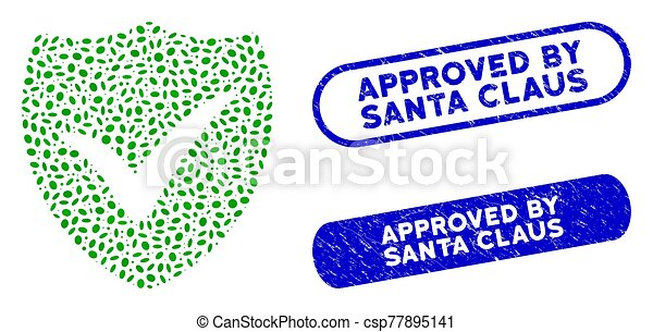 Oval Mosaic Shield Valid with Scratched Approved by Santa Claus Seals - csp77895141