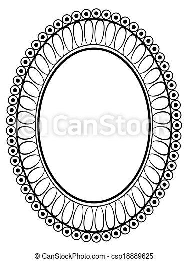Oval ornamental decorative frame. Vector oval black ornamental ...