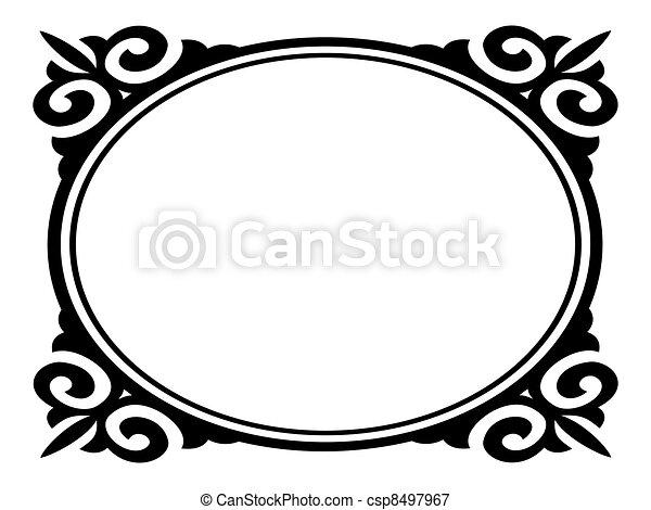 oval, ornamental, decorativo, vetorial, quadro - csp8497967