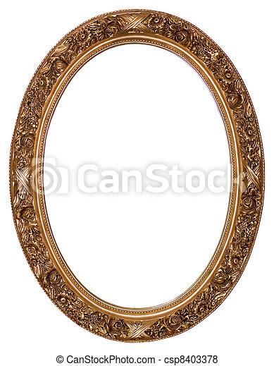 oval, oro de marco de fotografía - csp8403378