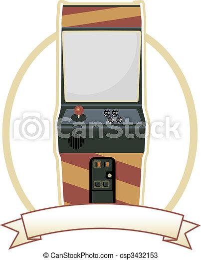 oval, vídeo, emblema, arcada, gabinete - csp3432153