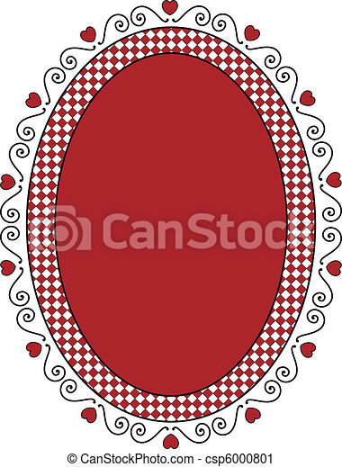Oval Valentine Frame or Tag With Gi - csp6000801
