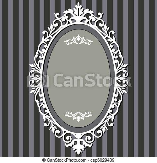 Oval vintage frame Decorative oval frame on stripe grey eps
