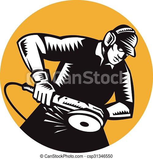ovale, macinatore, lavoratore, angolo, woodcut - csp31346550