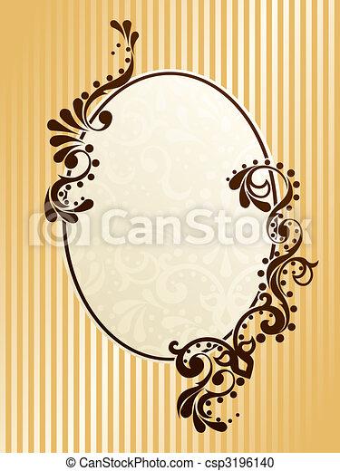 ovale, vendange, cadre, sépia - csp3196140
