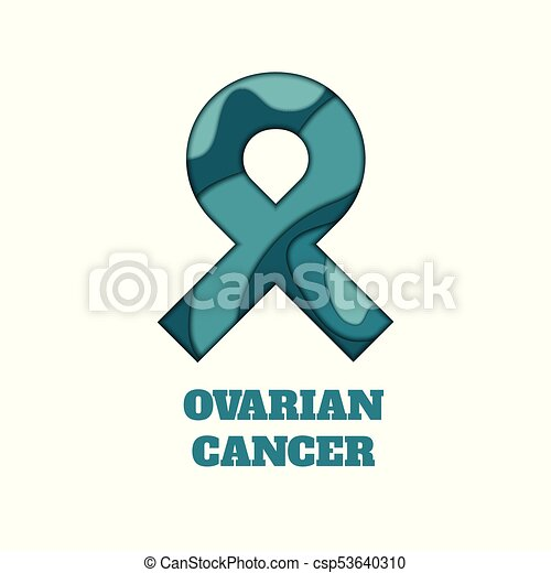 Ovarian Cancer Awareness Papercut Ribbon Ovarian Cancer Awareness Poster Teal Ribbon Made In 3d Paper Cut And Craft Style