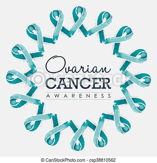 Ovarian Cancer Awareness Ribbon Design With Text Ovarian Cancer Awareness Typography Design With Mandala Made Of Blue Teal