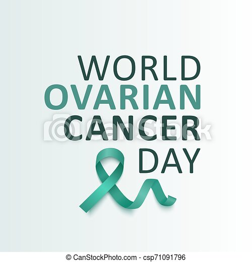 Ovarian Cancer Awareness Teal Green Ribbon With Text Vector Illustration Isolated Ovarian Cancer Awareness September Month