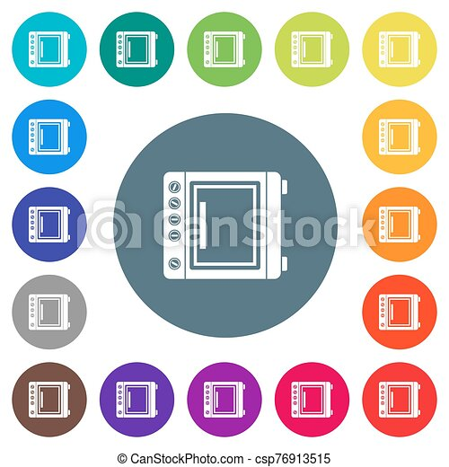 Oven flat white icons on round color backgrounds - csp76913515