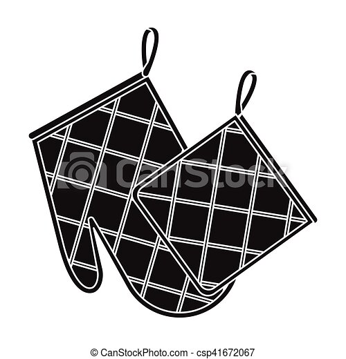 Oven glove and pot holder icon in black style isolated on ...