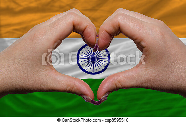 Over Flag Of India Showed Heart And Love Gesture Made By Hands