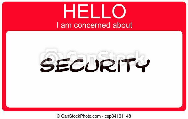 over, naam, betrokken, label, veiligheid, hallo, rood - csp34131148
