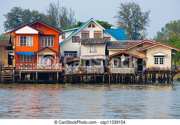 Over Water River Stilt Residential Houses Bangkok - csp11339154