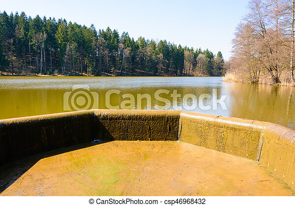 Overflow of water in the lake - csp46968432