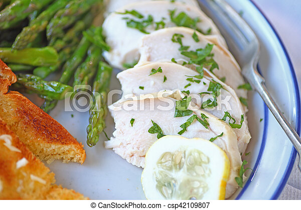 Overhead of chicken with asparagus - csp42109807