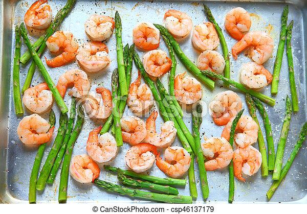 Overhead of shrimp and asparagus - csp46137179