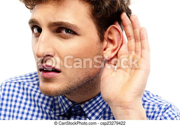 overhears, ung, konversation, stående, tillfällig, man - csp23279422