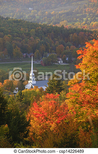 Overlooking Stowe Community Church in the autumn. - csp14226489