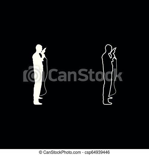 El maestro reparador con un overol con una herramienta en sus manos una vista de taladro eléctrico con un icono de color blanco una ilustración plana estilo simple imagen - csp64939446