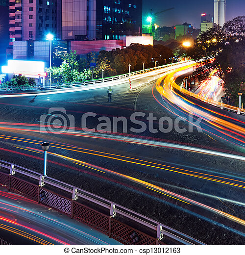 Overpass of the light trails - csp13012163